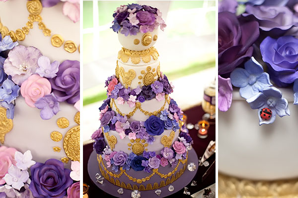 Vintage Plum and Gold Anniversary Cake