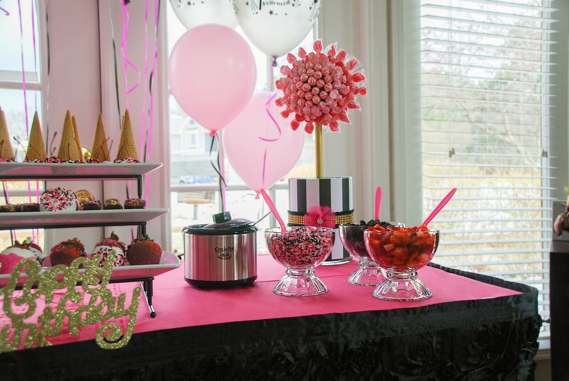Glam Pink and Black Sundae Bar