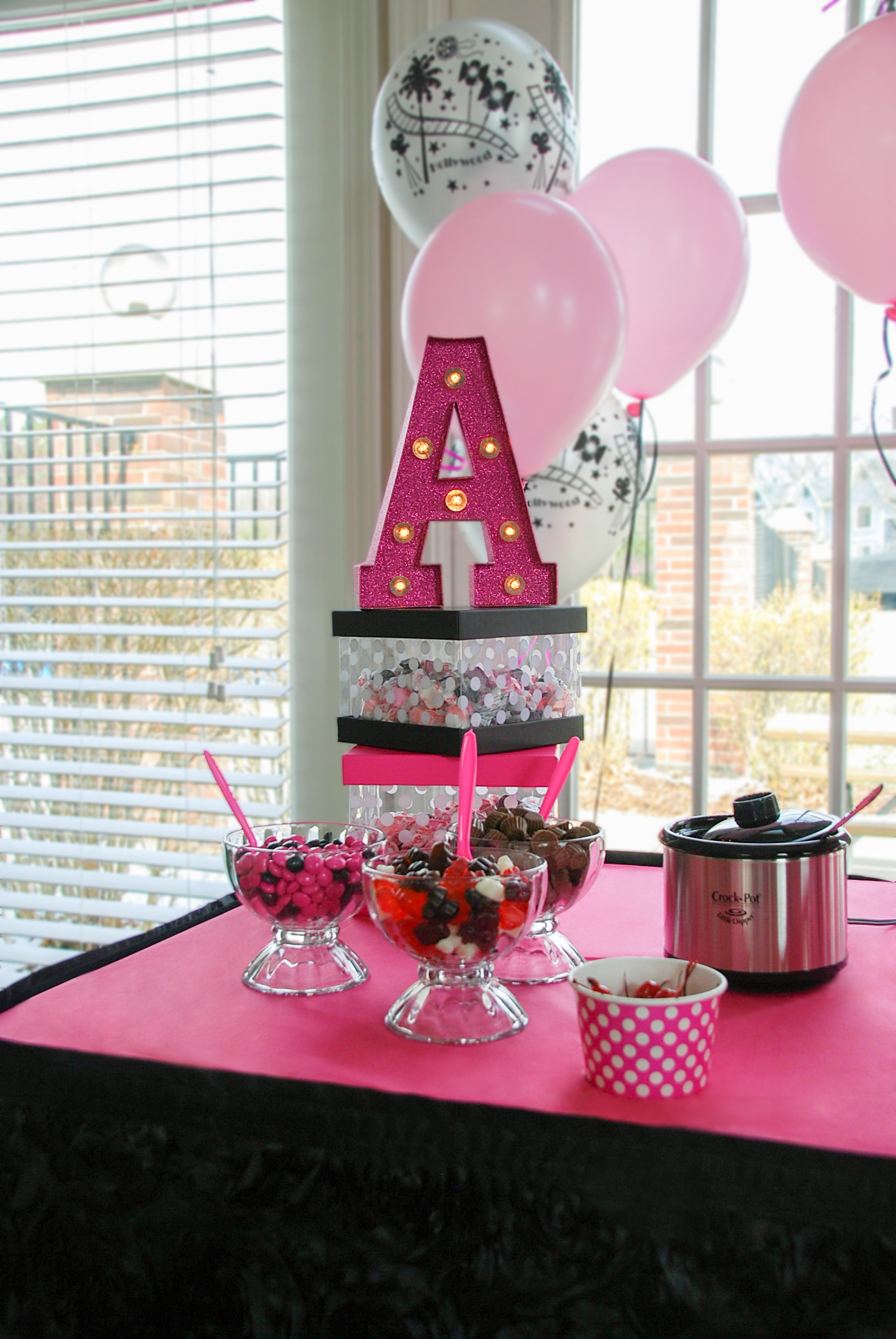 Glam Pink and Black Sundae Bar