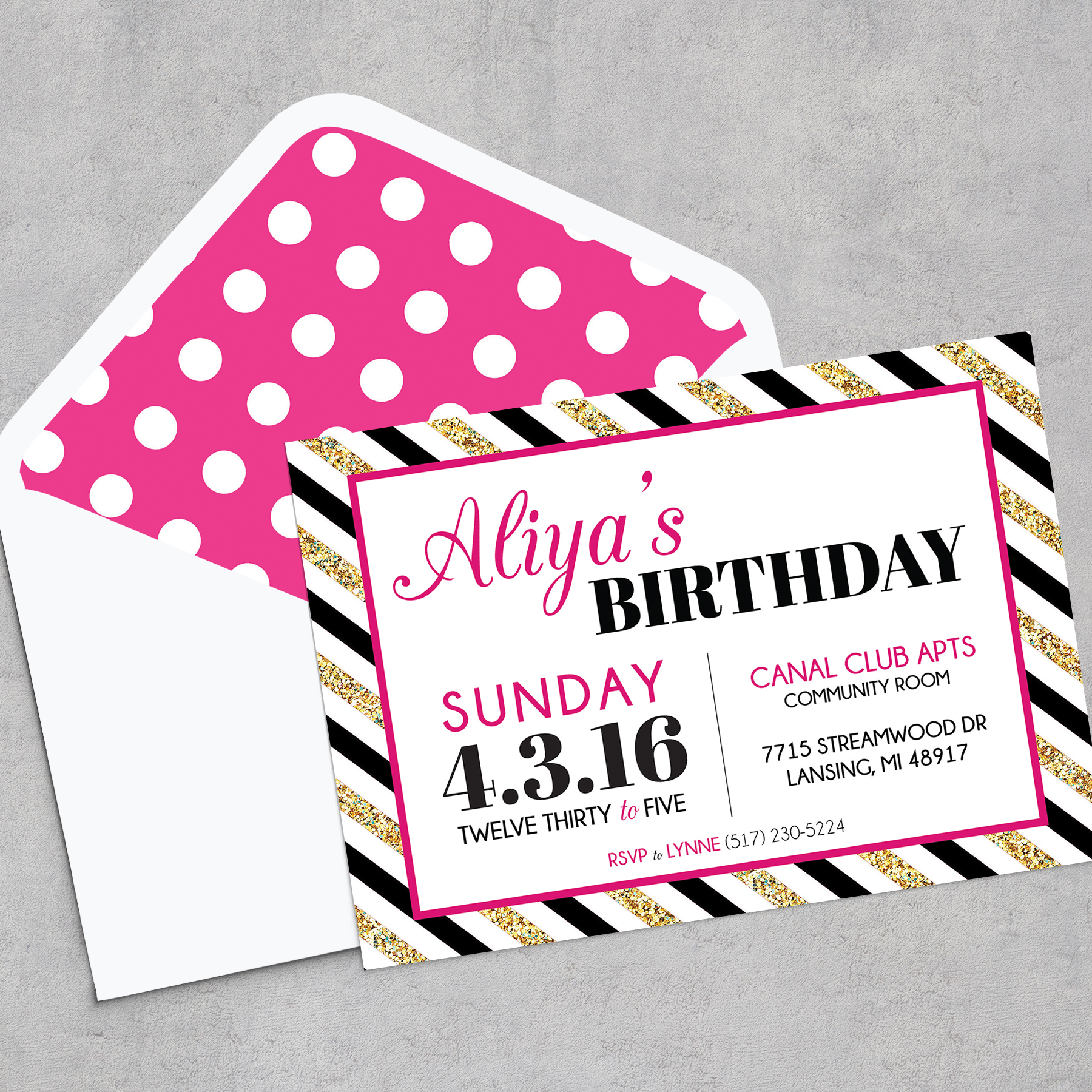 Modern glam inspired birthday party lansing mi pixie dust events glam kate spade inspired invitation stopboris Choice Image