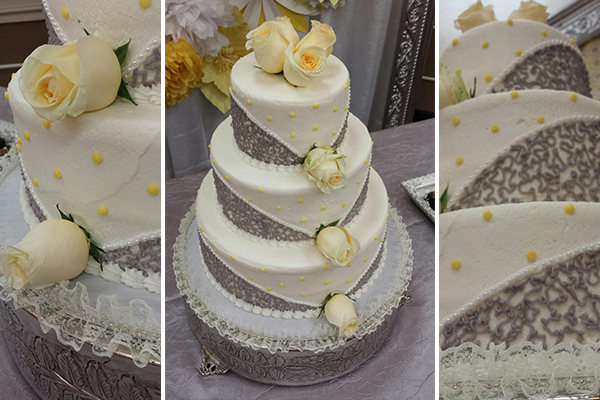 Gray and Yellow Dessert Table by Pixie Dust Events | Cake by Cake Art of Lansing