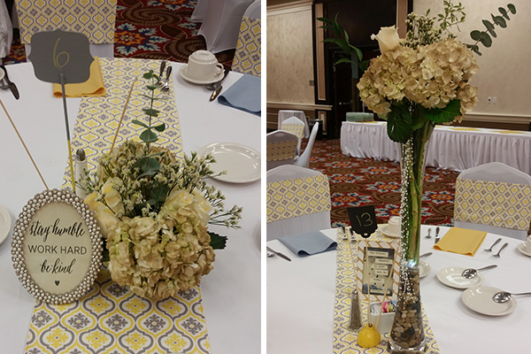 Gray and Yellow Centerpiece by Pixie Dust Events