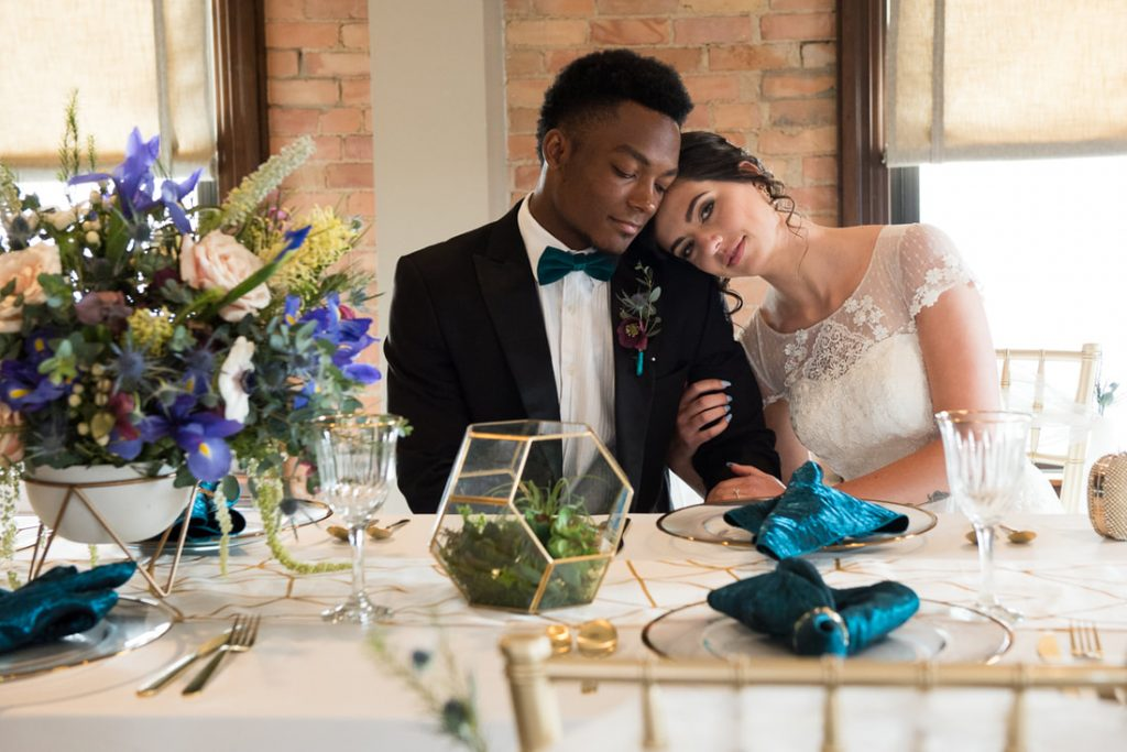 Teal and Gold Geometric Wedding Inspiration – Oxford, MI